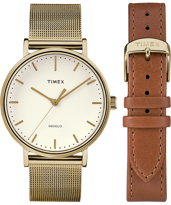 Fairfield 37mm Gold Tone Strap/White Dial Gift Set  large