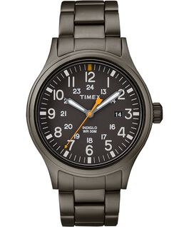 Allied 40mm Stainless Steel Watch Silver-Tone/Gray/Black large