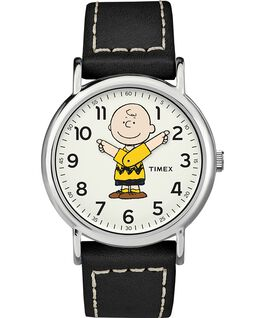 Snoopy 38mm Leather Strap Watch Silver-Tone/Black/White large