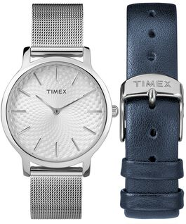 Metropolitan 34mm Mesh Band Watch Giftset With Extra Strap Silver-Tone large