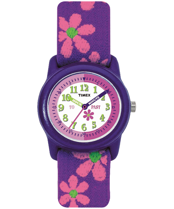Kids Analog 29mm Elastic Fabric Strap Watch Purple/White large