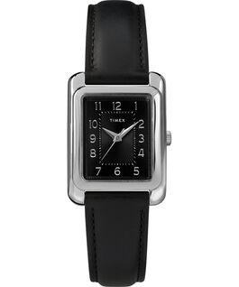 Meriden 25mm Leather Strap Watch Chrome/Black large