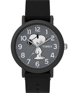 Timex x Peanuts Weekender 34mm Fabric Strap Watch Black large