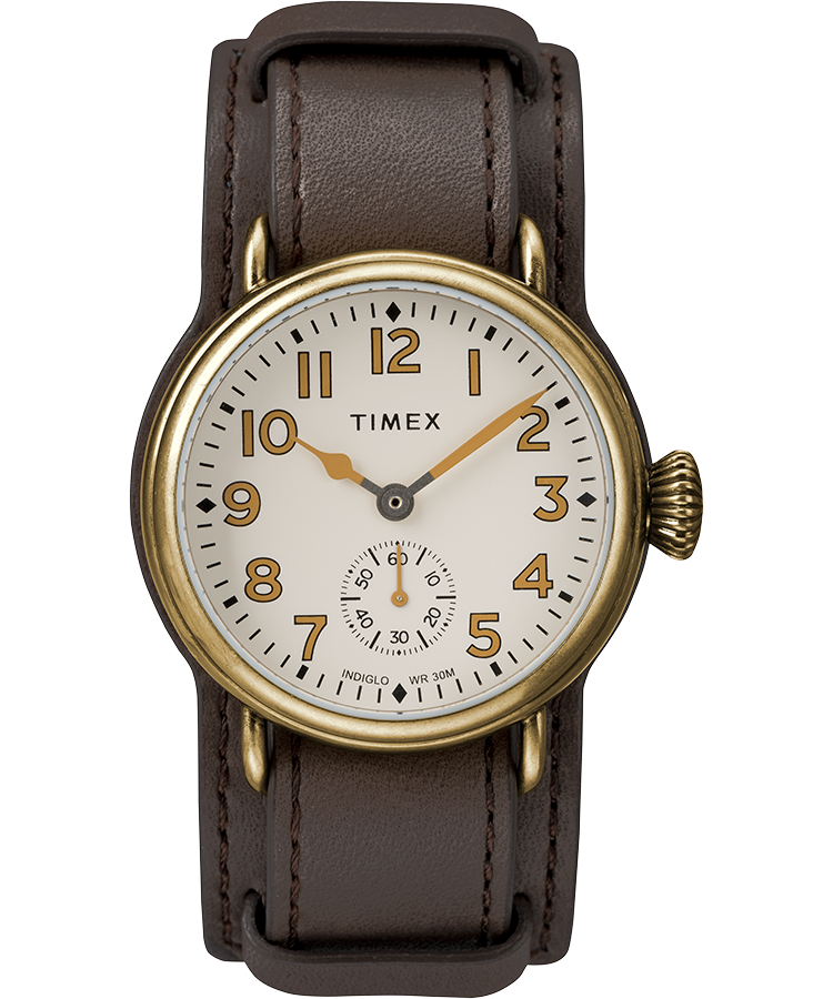 Welton 38mm Leather Strap Stainless Steel Watch Timex