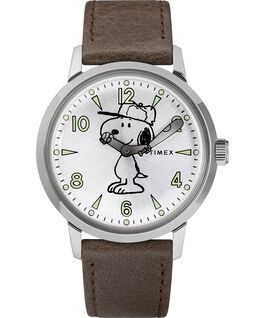 Welton Featuring Snoopy 40mm Leather Strap Watch Stainless-Steel/Brown/Silver-Tone large