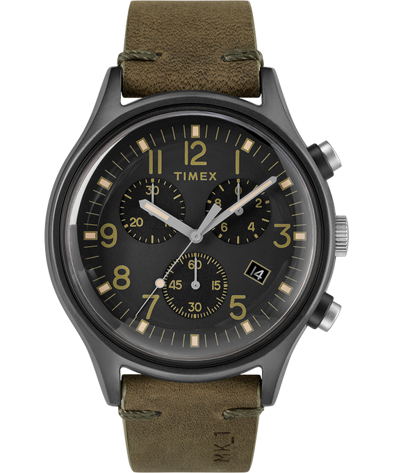 MK1 Chronograph Steel 42mm Leather Strap Watch Gray/Green/Black large