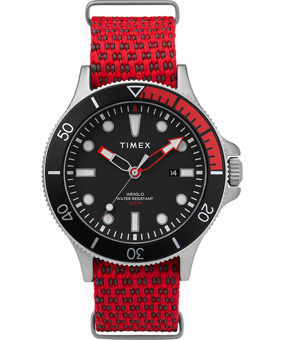 Allied Coastline 43mm with Rotating Bezel Silicone Strap Watch Silver-Tone/Red/Black large