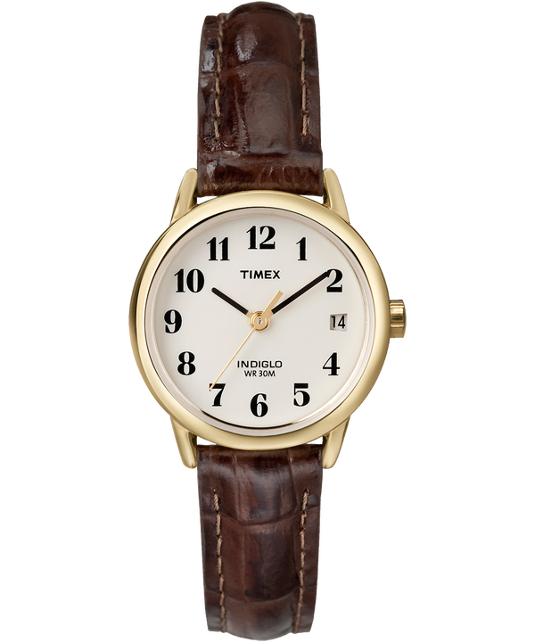 Easy Reader 25mm Leather Strap Watch Gold-Tone/Brown/Natural large
