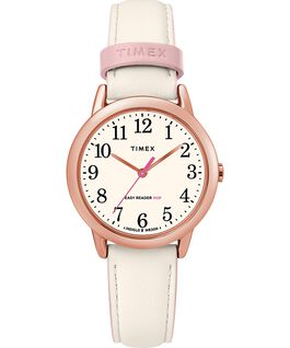 Easy Reader Color Pop 30mm Leather Watch Womens Rose-Gold-Tone/Cream large