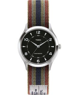 Whitney Village 36mm Reversible Grosgrain Strap Watch-1 Stainless-Steel/Black large