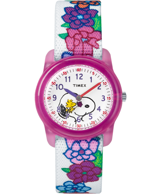 Peanuts 28mm Elastic Fabric Strap Watch Pink/White large