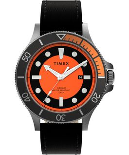 Allied Coastline 43mm Fabric Strap Watch Silver-Tone/Black/Orange large