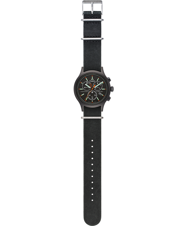 Allied Chronograph 42mm Leather Strap Watch Black/Black large