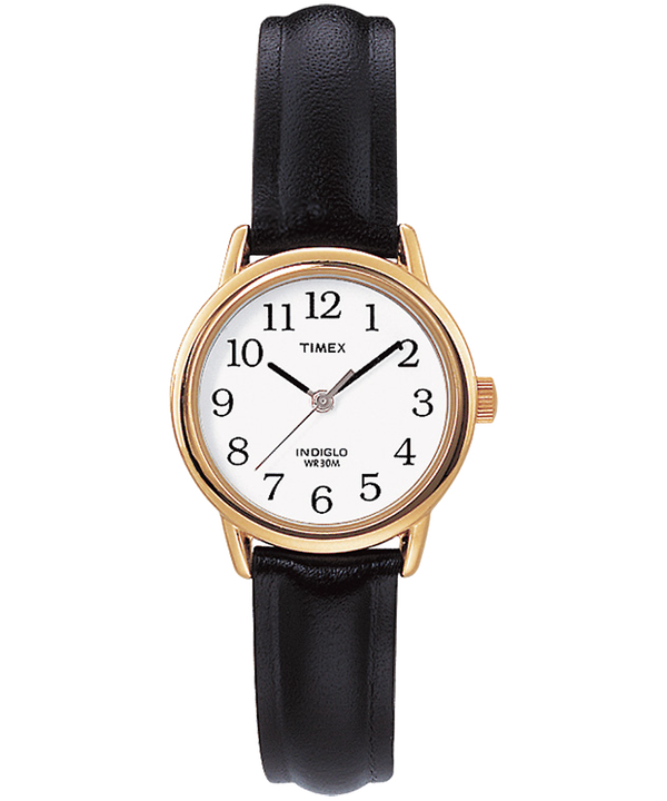Easy Reader 25mm Leather Strap Watch Gold-Tone/Black/White large