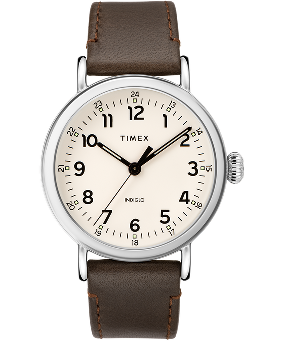 Standard 40mm Leather Strap Watch Silver-Tone/Brown/Cream large