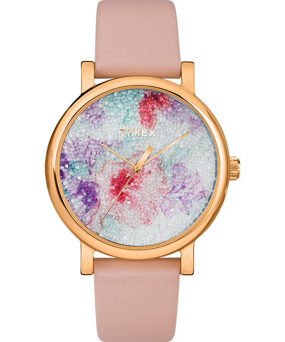 Crystal Bloom with Swarovski Fabric 38mm Leather Watch