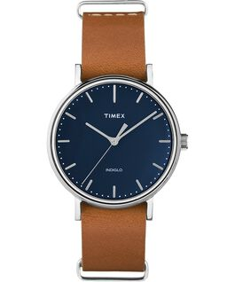 Fairfield 37mm Leather Strap Womens Watch Chrome/Tan/Blue large