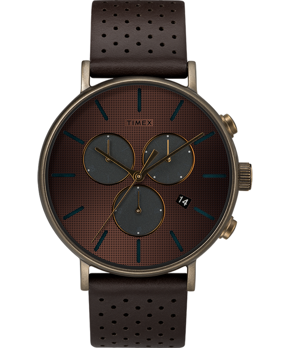 Fairfield Supernova 41mm Leather Strap Bronze-Tone/Brown/Gold-Tone large