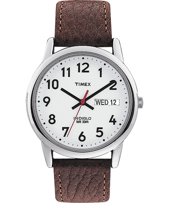 Easy Reader 35mm Leather Watch with Day Date Silver-Tone/Brown/White large