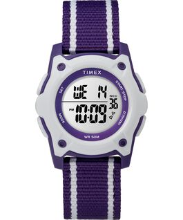 Youth Digital 35mm Double Layer Striped Nylon Strap Watch Purple/White large