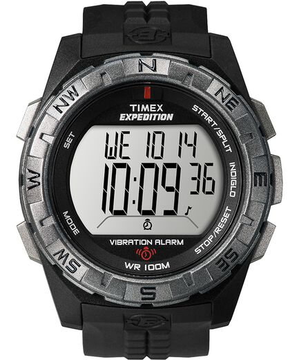 06387dac6 Expedition Chrono-Alarm-Timer 43mm Resin Strap Watch Black/Silver-Tone large