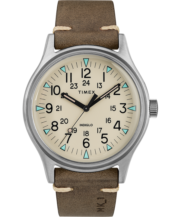 MK1 Steel 40mm Leather Strap Watch  large