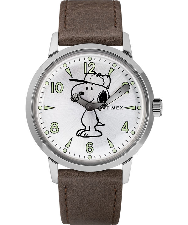 Welton Featuring Snoopy 40mm Leather Strap Watch  large