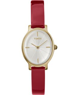 Milano Oval 24mm Patent Leather Watch Gold-Tone/Red/Silver-Tone large