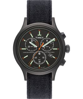 Allied Chronograph 42mm Stonewashed Denim Strap Watch Black large