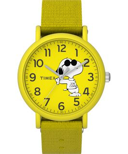 Timex x Peanuts Weekender 34mm Fabric Strap Watch Yellow large