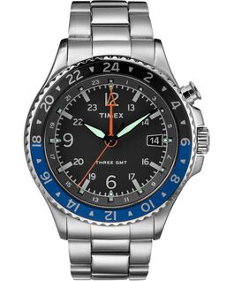 Allied Three GMT 43mm Stainless Steel Watch Stainless-Steel/Black large