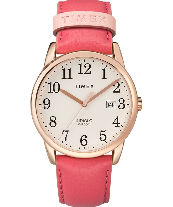 Easy Reader Color Pop 38mm Leather Watch Womens Rose-Gold-Tone/Pink/Cream large