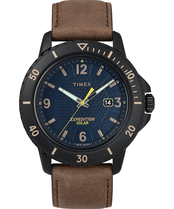 Expedition Gallatin Solar 45mm Leather Strap Watch Black/Brown/Blue large