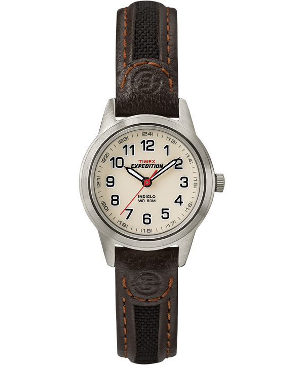 Expedition Field Mini 26mm Leather Strap Watch Silver-Tone/Brown/Natural large