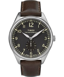 Waterbury Traditional Sub-Second 42mm Leather Strap Watch Stainless-Steel/Brown/Black large