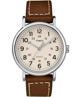 Weekender 2-piece 40mm Leather Strap Watch Silver-Tone/Brown/Cream large