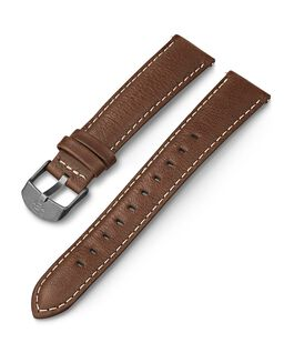 18mm Leather with White Stitching Strap Brown large