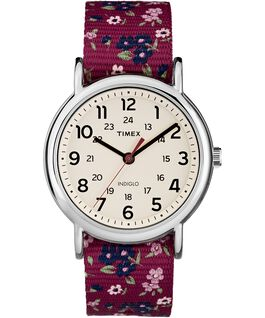 Weekender Patterns 38mm Nylon Strap Watch Chrome/Red/Cream large