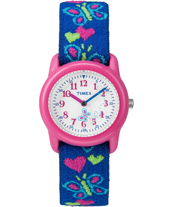 Kids Analog 29mm Elastic Fabric Strap Watch Pink/Blue/White large