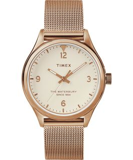 Waterbury Traditional Womens 34mm Mesh Bracelet Watch Rose-Gold-Tone/Cream large