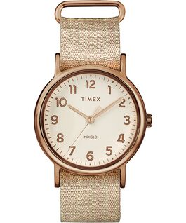 Weekender 38mm Metallic Fabric Strap Watch Rose-Gold-Tone/Pink/Cream large