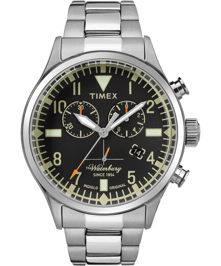 7cd983f2c Waterbury Traditional Chronograph 42mm Stainless Steel Watch Stainless-Steel/Black  large