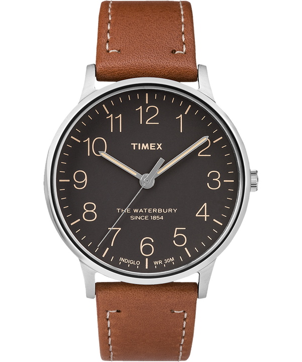 Waterbury 40mm Classic Leather Strap Watch  large