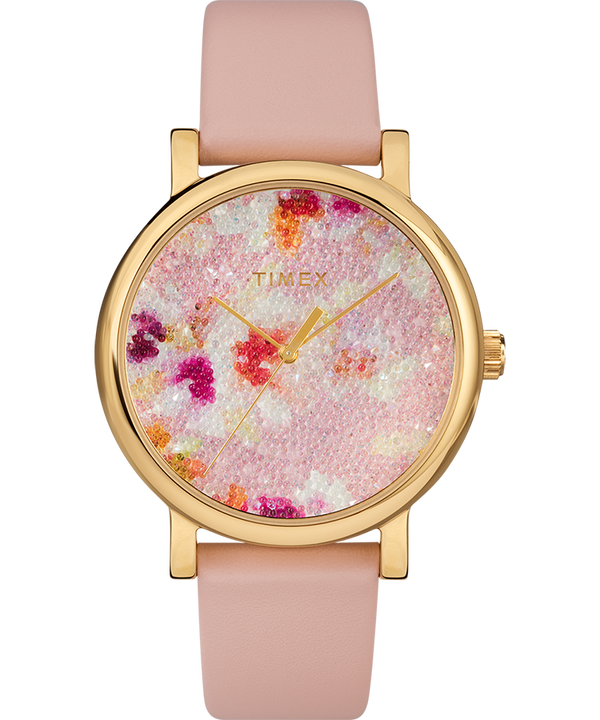 Crystal Bloom with Swarovski Fabric 38mm Leather Watch  large