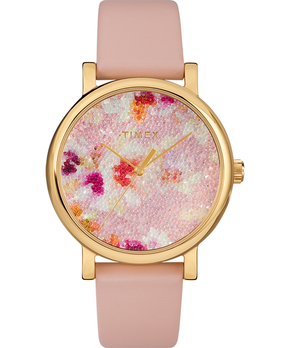 Crystal Bloom with Swarovski Fabric 38mm Leather Watch Rose-Gold-Tone/Pink large
