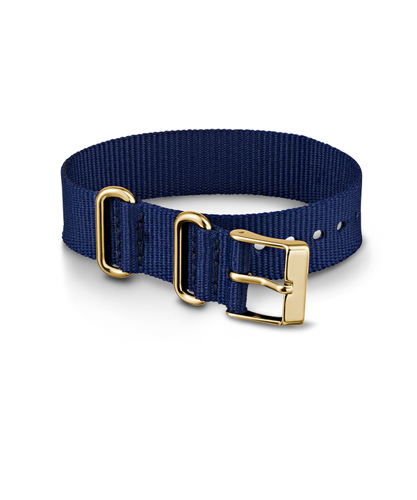 16mm Blue Nylon with Gold Accents Strap  large