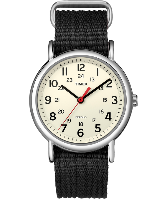 Weekender 38mm Nylon Strap Watch Silver-Tone/Black/Cream large