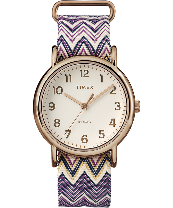 Weekender Chevron 38mm Fabric Strap Watch Rose-Gold-Tone/Purple/Cream large