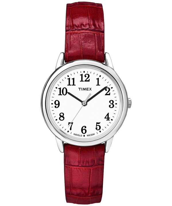 Easy Reader 30mm Leather Strap Watch Silver-Tone/Red/White large