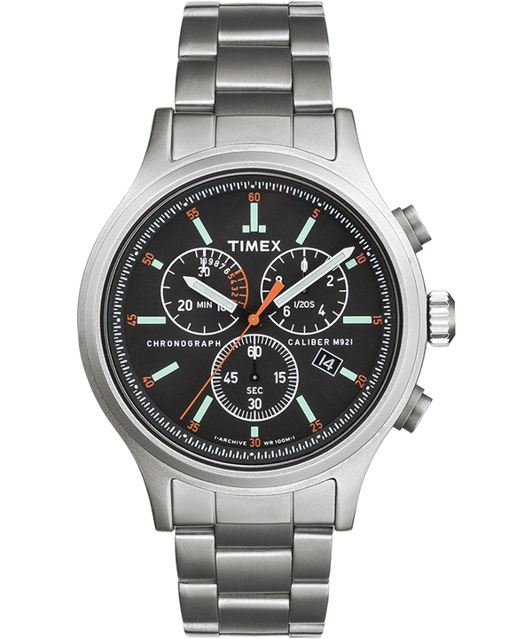 Allied Chronograph 42mm Stainless Steel Bracelet Watch with Hour Markers  large